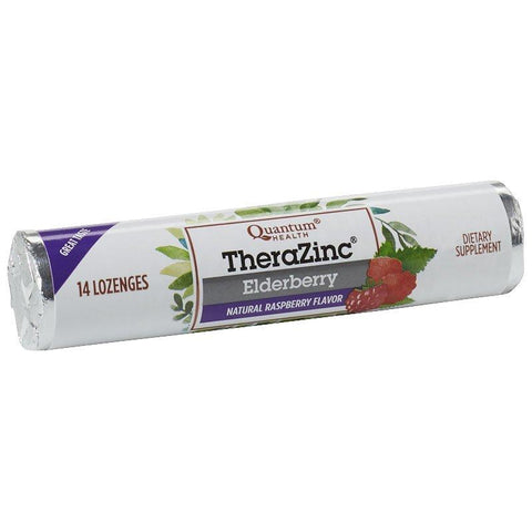 Quantum Health TheraZinc Elderberry Lozenges - Raspberry (14 lozenges)