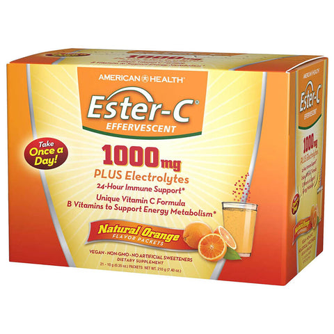 American Health Ester-C 1000mg Effervescent - Orange (21 packets)