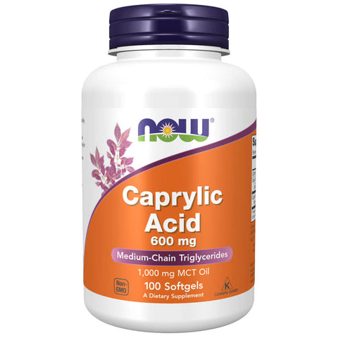 NOW Caprylic Acid 600mg (100 softgels)