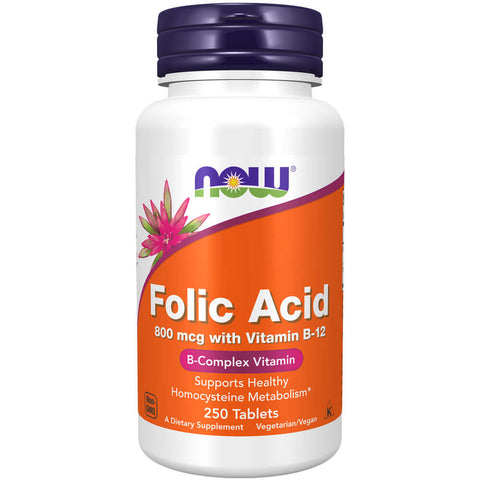 NOW Folic Acid 800mcg with Vitamin B-12 (250 tablets)