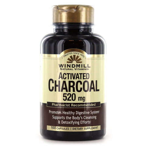 Windmill Activated Charcoal 520mg (100 capsules)