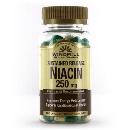 Windmill Sustained Release Niacin 250mg (100 caps)
