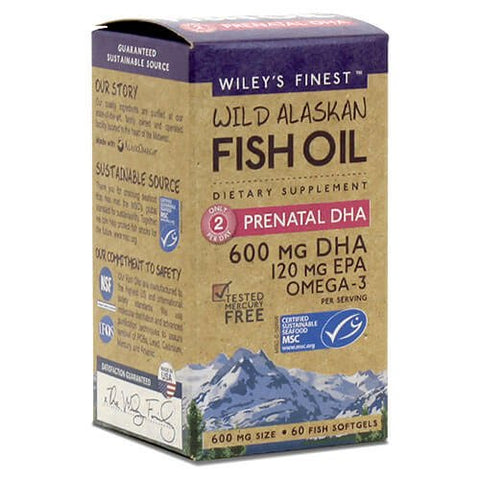 Wiley's Finest Wild Alaskan Fish Oil Prenatal DHA (60 softgels)