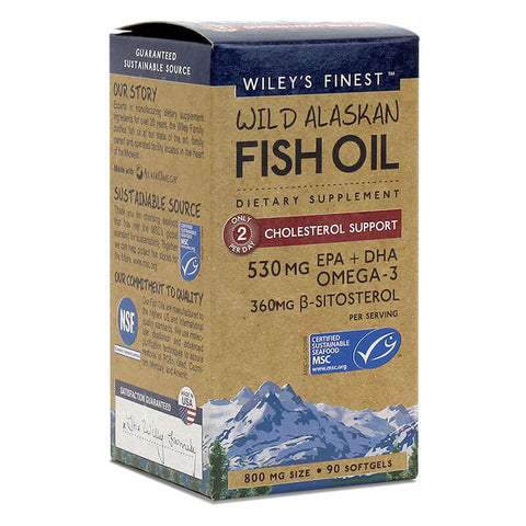Wiley's Finest Wild Alaskan Fish Oil Cholesterol Support (90 softgels)
