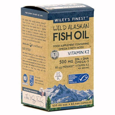 Wiley's Finest Wild Alaskan Fish Oil Vitamin K2 (60 softgels)