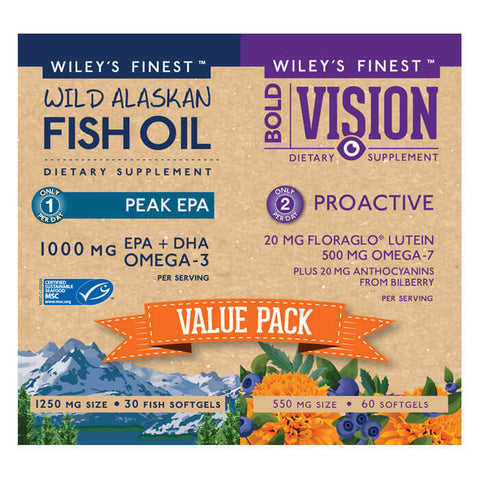 Wiley's Finest Value Pack - Peak EPA & Bold Vision (30 day supply)