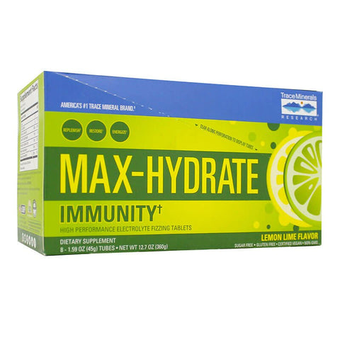 Trace Minerals Research Max-Hydrate Immunity - Lemon Lime (8 tubes)