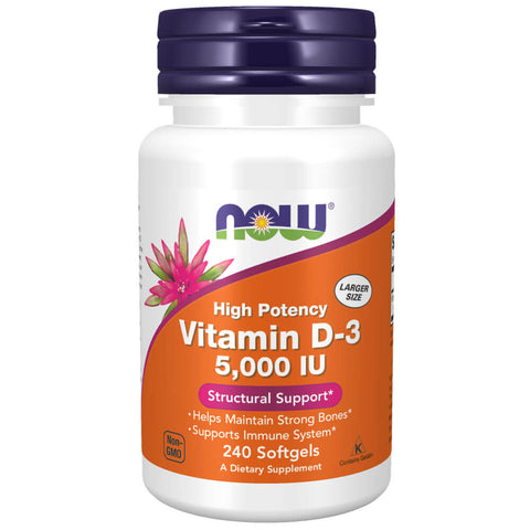 NOW Vitamin D-3 5000 IU (240 softgels)