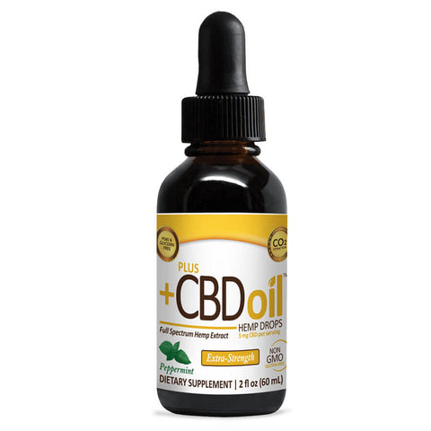 PlusCBD Oil Hemp Drops 750mg Extra Strength - Peppermint (2 fl oz)