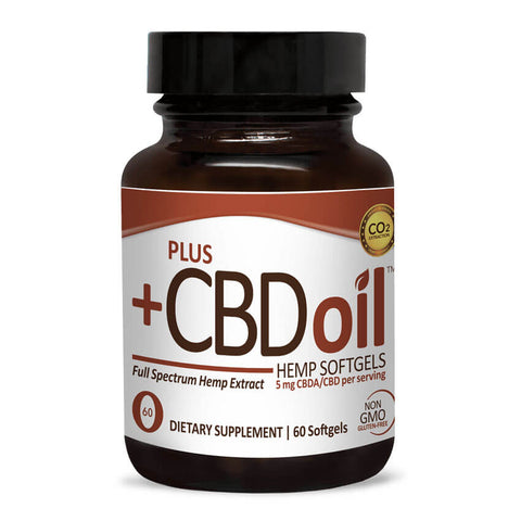 PlusCBD Oil Raw Hemp Softgels 5mg (60 softgels)