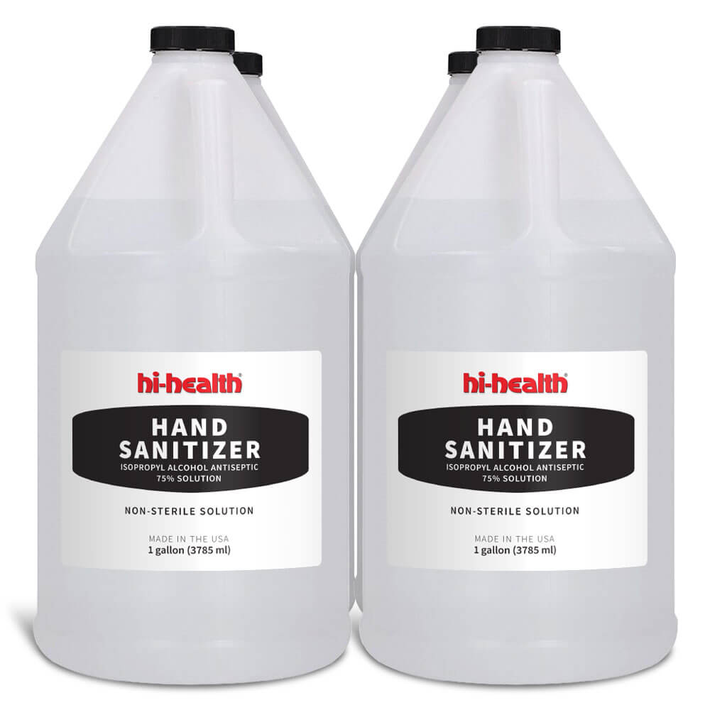 Hi-Health Hand Sanitizer 75% Isopropyl Alcohol (1 Gallon) - Four Pack