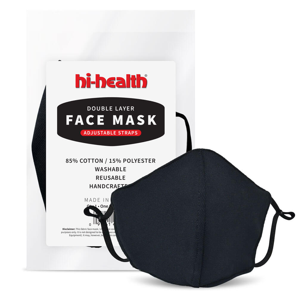 Hi-Health Face Mask - Double Layer Fabric - Adjustable Straps