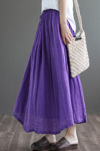 Load image into Gallery viewer, Purple Elastic Waist Linen Swing Skirt C190301