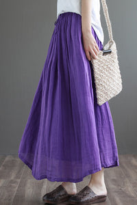 Purple Elastic Waist Linen Swing Skirt C190301
