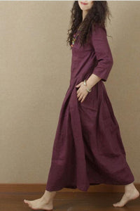 Long linen skirt with full waist and seven minute sleeves 190229