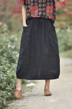 Load image into Gallery viewer, Large elastic waist pocket plain linen skirt CYM036-190068