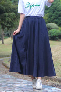 Natural waist vintage cotton and linen art a-line skirt CYM034-190066