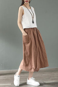 Summer natural waist cotton and linen midi skirt CYM037-190069