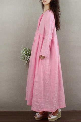 Literature and art small and fresh long linen dress 190235