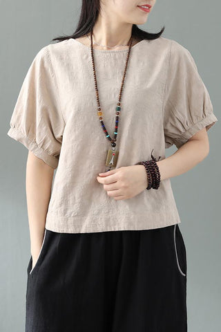 Chinese cotton and linen lantern sleeves short sleeves CYM040-190072