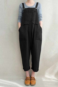 Women's Baggy Plus Size Overalls Cotton Linen Jumpsuits C1697#