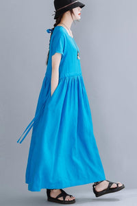 H line linen maxi dress with medium waist, round neck 190227