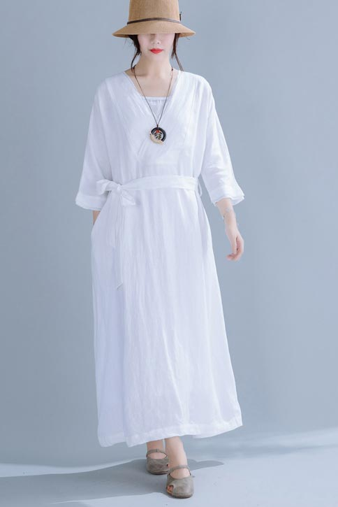 Two-piece linen dress with V neck and seven minute sleeve 190244