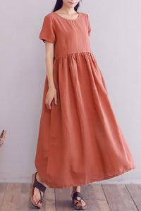 short sleeve loose fit linen maxi dress A008