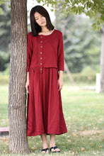 Load image into Gallery viewer, Asymmetrical Linen Maxi Dress C0416#