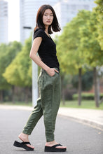 Load image into Gallery viewer, linen green pants