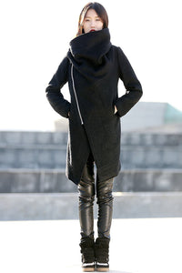 Women's  Wool Cowl Neck asymmetrical Coats C162#