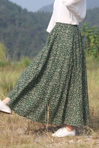 Print vintage high-waisted a-line skirt CYM035-190067
