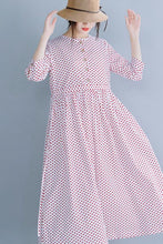 Load image into Gallery viewer, Cotton round collar long dress waist show slim temperament dress 190233