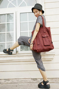 Simple female linen single shoulder bag CYM019-190101