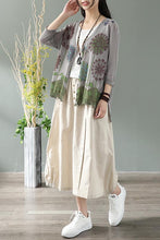 Load image into Gallery viewer, Summer natural waist cotton and linen midi skirt CYM037-190069