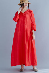 Loose linen maxi dress with loose waist and seven minute sleeve 190242