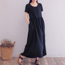 Load image into Gallery viewer, short sleeve loose fit linen maxi dress A008