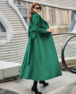 Emerald green double breasted wool maxi coat C1765