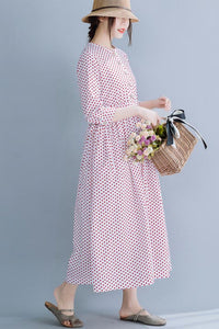 Cotton round collar long dress waist show slim temperament dress 190233