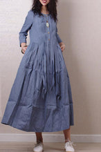 Load image into Gallery viewer, Literary style retro pleated long sleeves  linen maxi dress 190237