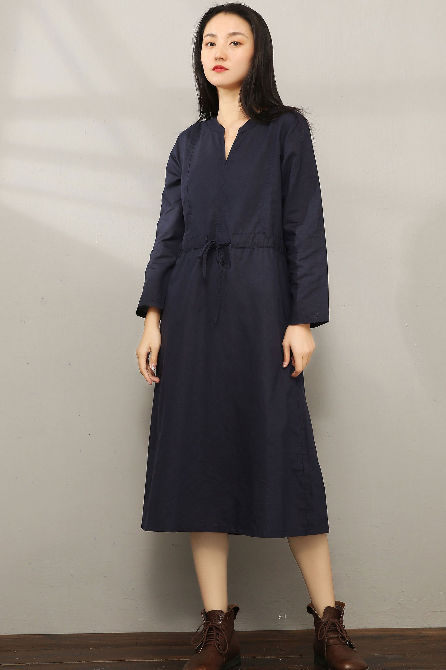 Casual Midi V-neck Shirt Dress C1975