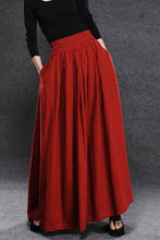 Load image into Gallery viewer, elastic waist red linen maxi skirt C054