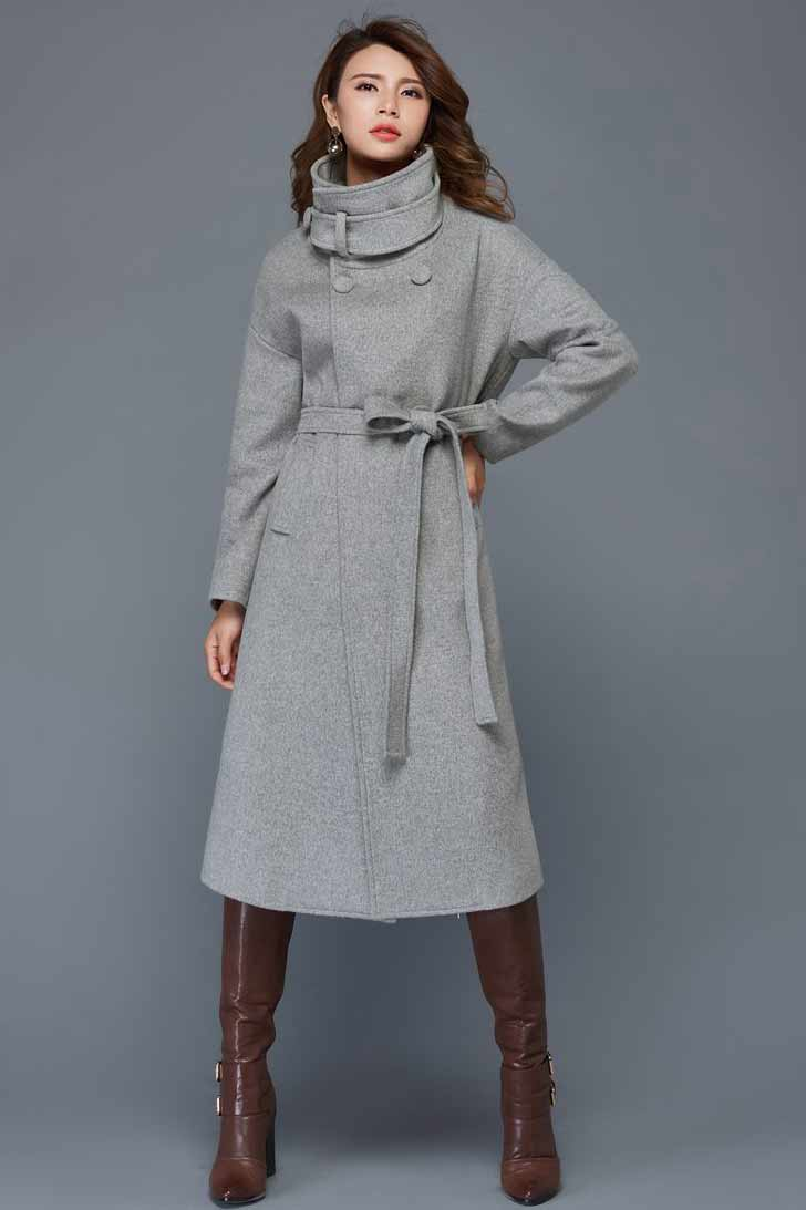women's wool maxi coat C961#