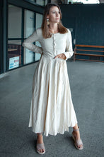 Load image into Gallery viewer, Long sleeve maxi linen dress  C1381