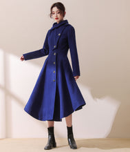 Load image into Gallery viewer, Asymmetric Hooded wool jacket coat In Blue C1780