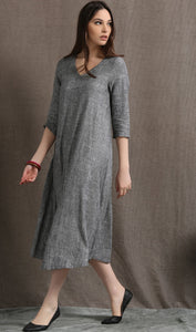 Grey linen v neckline dress C413