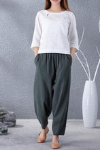 Load image into Gallery viewer, Casual wild leg linen pants with elastic waist A007