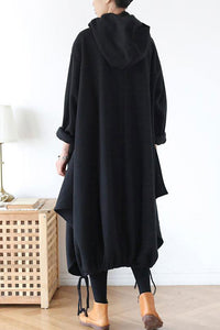 Loose fit hooded cotton dress coat with asymmetrical hem A016