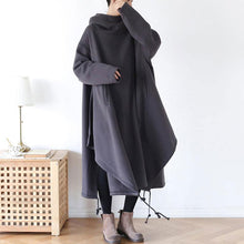 Load image into Gallery viewer, Loose fit hooded cotton dress coat with asymmetrical hem A016