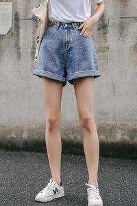 High waist wide leg denim jean shorts L004#